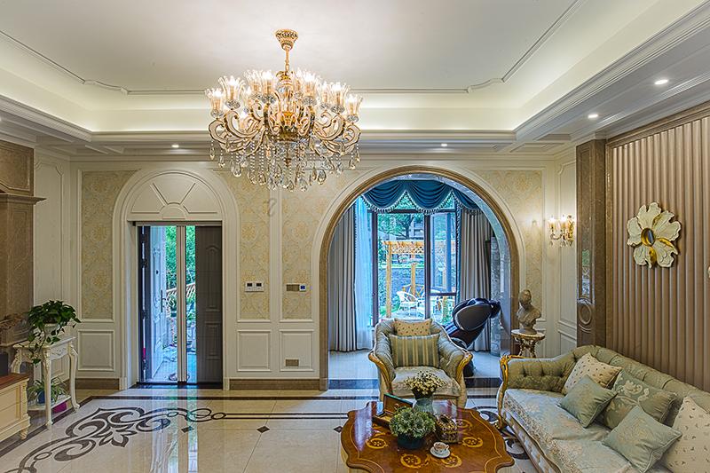 保利家园 别墅装修 新中式风格 腾龙设计 客厅图片来自腾龙设计在保利家园别墅装修中式风格设计的分享