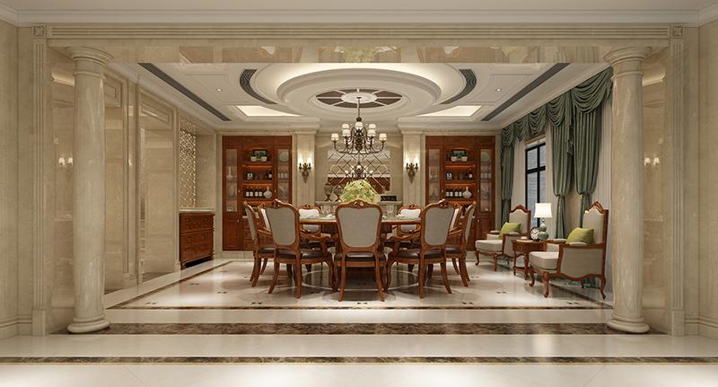 大华梧桐墅 大公馆别墅 欧式古典 腾龙设计 餐厅图片来自腾龙设计在大华西郊别墅装修新古典设计的分享
