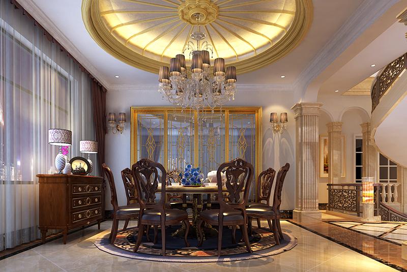 东郊紫园 别墅装修 欧式风格 腾龙设计 餐厅图片来自腾龙设计在东郊紫园600平别墅欧式风格设计的分享