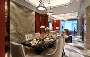 新古典 欧式 复式 跃层 大户型 别墅 80后 小资 餐厅图片来自高度国际姚吉智在171平米古典风里的档次雅致的分享