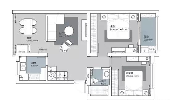 欧式 三居 白领 小资 户型图图片来自温江装修公司在120㎡北欧别致家居生活的分享