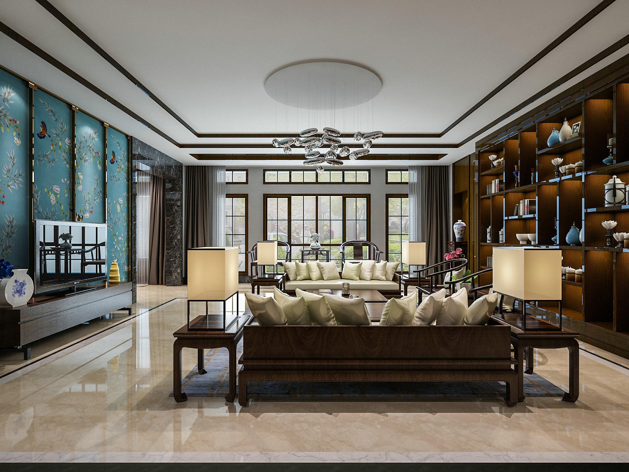 虹桥高尔夫 别墅装修 新中式风格 腾龙设计 客厅图片来自孔继民在虹桥高尔夫别墅新中式风格设计的分享