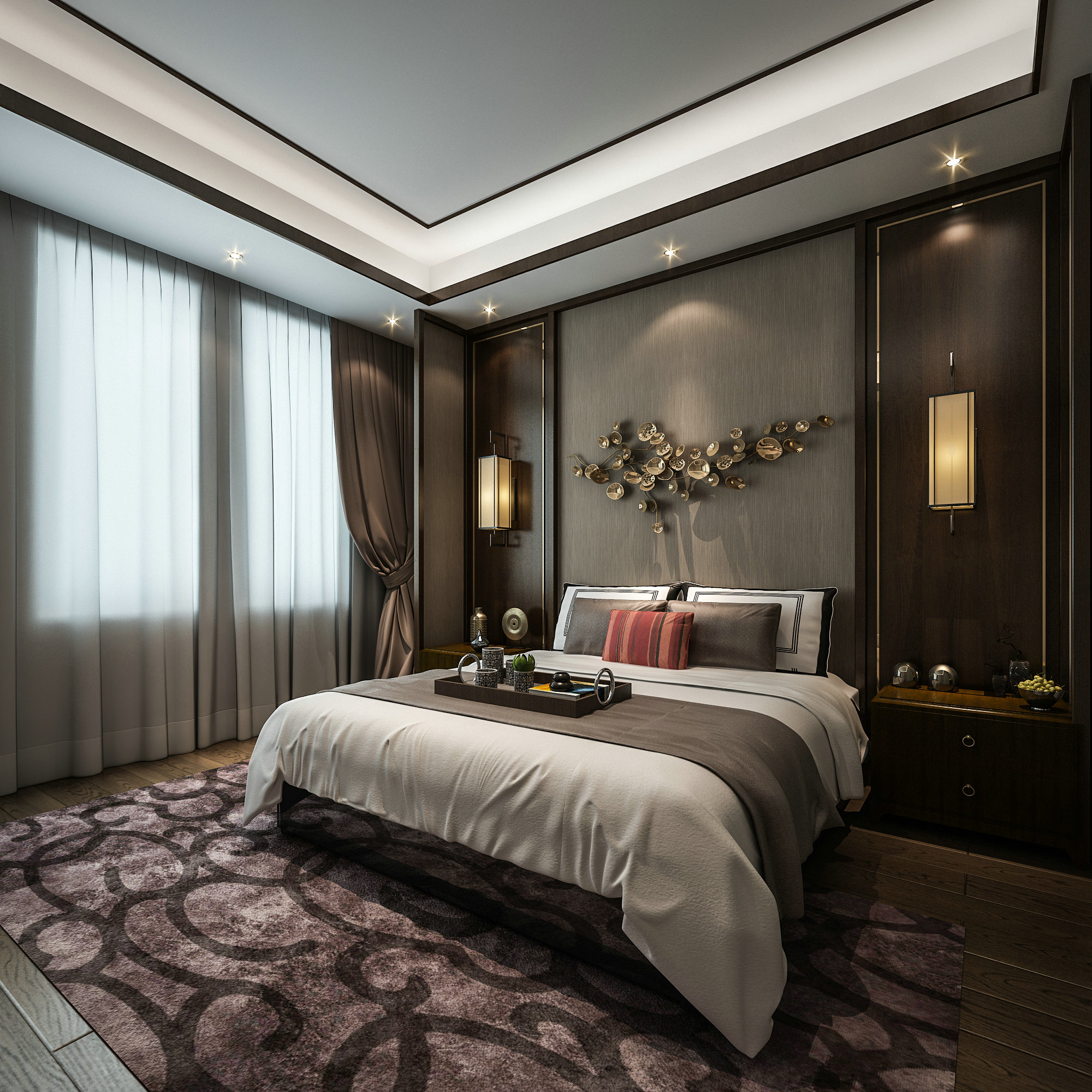 虹桥高尔夫 别墅装修 新中式风格 腾龙设计 卧室图片来自孔继民在虹桥高尔夫别墅新中式风格设计的分享