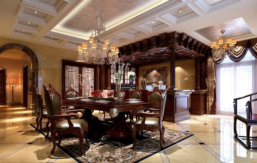 东海御庭 别墅装修 新中式古典 腾龙设计 餐厅图片来自孔继民在东海御庭500平别墅装修新中式的分享