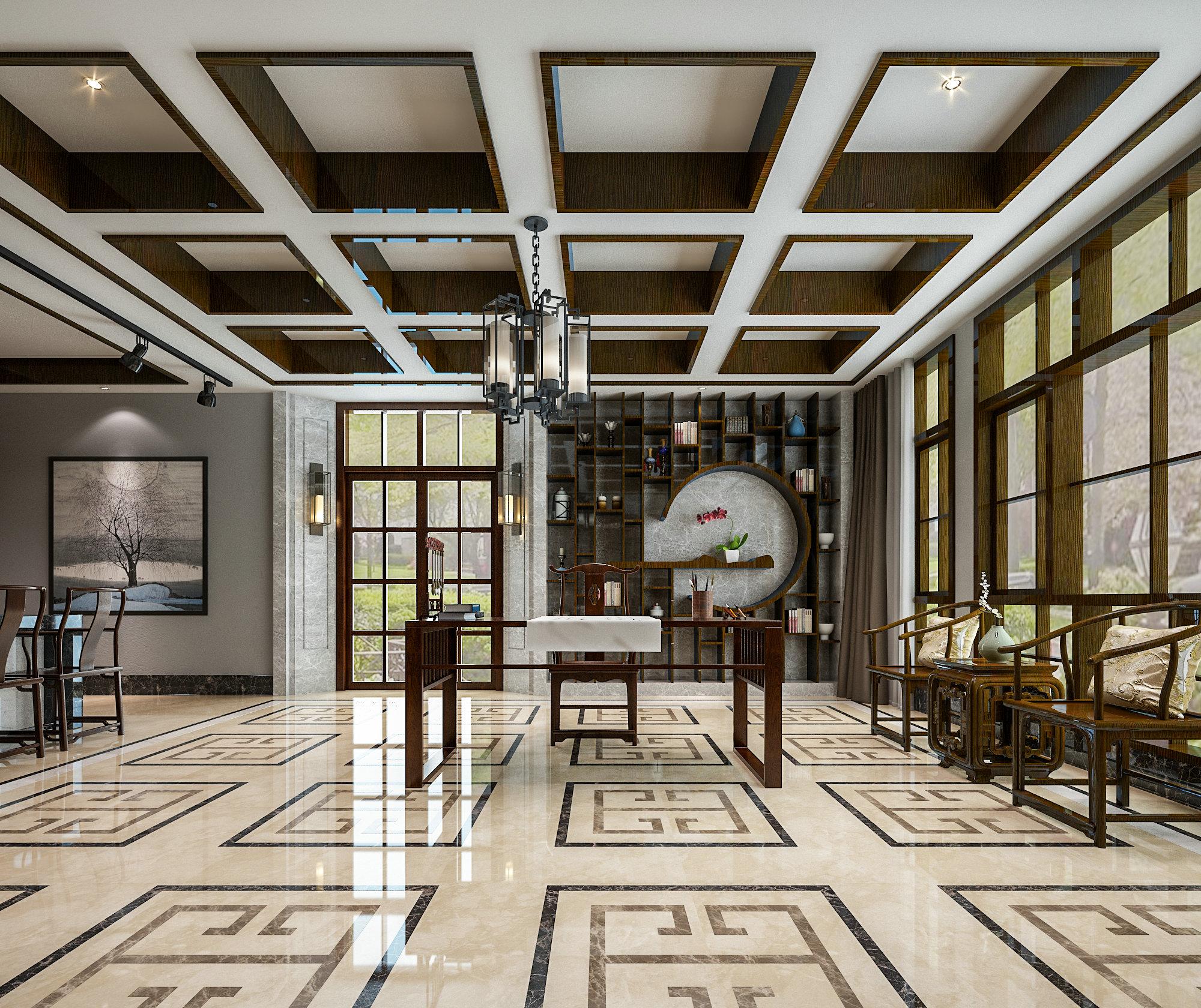 虹桥高尔夫 别墅装修 新中式风格 腾龙设计 书房图片来自孔继民在虹桥高尔夫别墅新中式风格设计的分享