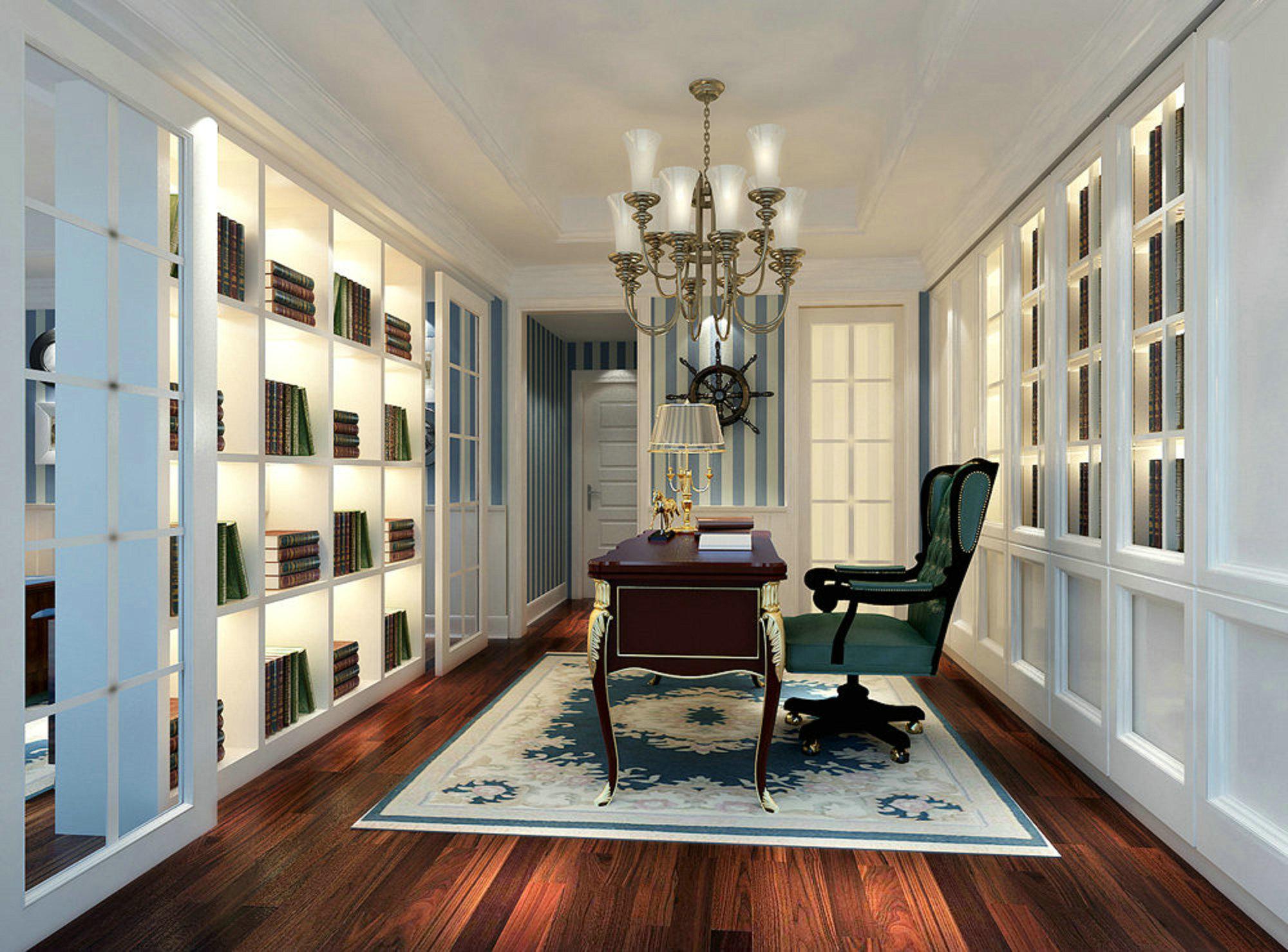 东方夏威夷 别墅装修 欧美古典 腾龙设计 书房图片来自孔继民在东方夏威夷别墅装修美式古典的分享