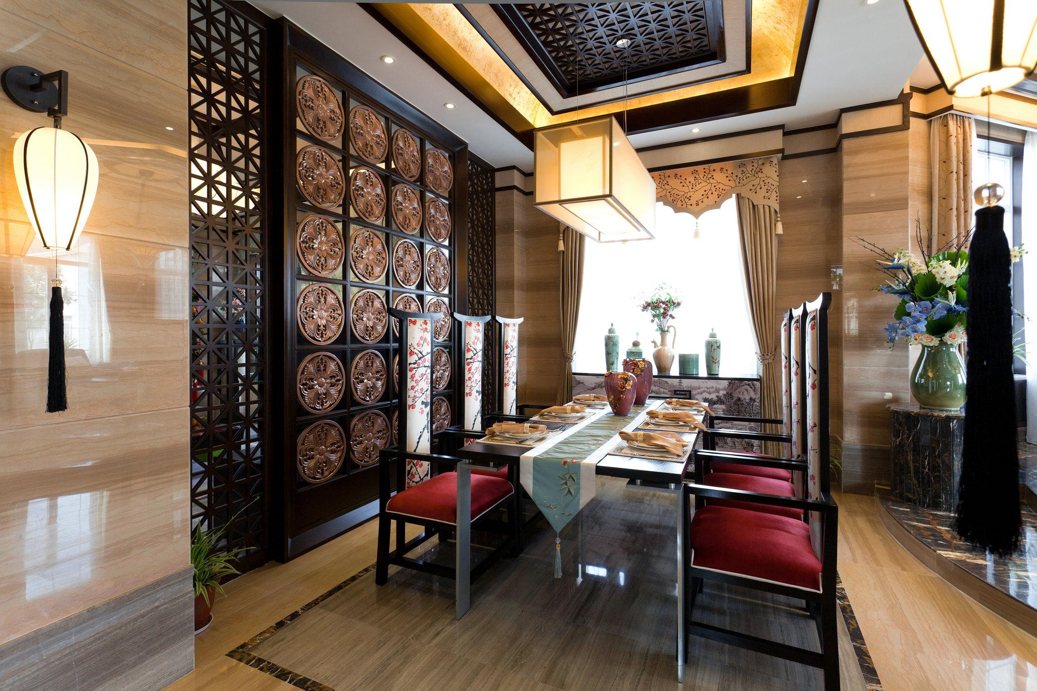 欧香名邸 别墅装修 中式风格 腾龙设计 餐厅图片来自孔继民在欧香名邸别墅装修完工实景作品的分享