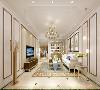 原始入户没有独立门厅区域,设计师通过结构改造增设门厅区域,同时设计以展示为主的储物收纳区。以简约的欧式线条,提升整个空间的造型感,同时又摒弃繁复的装饰,以金属线条的材质与色彩来体现空间的奢华与贵气。