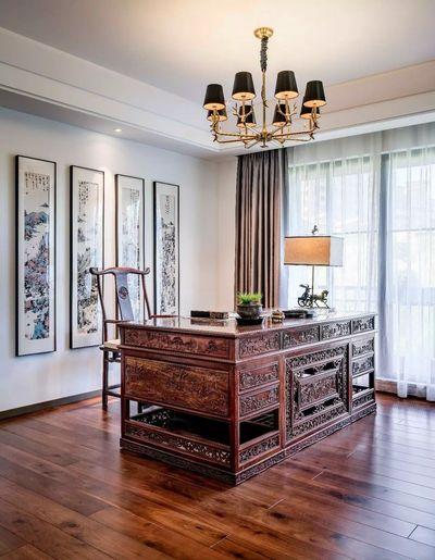 大豪山林 别墅装修 上海腾龙设 新中式风格 书房图片来自孔继民在大豪山林别墅新中式风格设计的分享