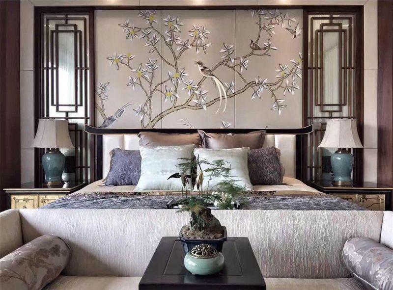 汤臣湖庭花 别墅装修 中式风格 腾龙设计 卧室图片来自孔继民在别墅装修中式风格设计案例的分享
