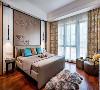 床头咖色的皮雕融入中式花鸟背景,精致不浮华,让空间大放异彩。古典色彩结合现代工艺,搭配出主人的独特品味。仿毛皮创意块毯的加入,更是为为卧室增添了一丝奇思妙想。