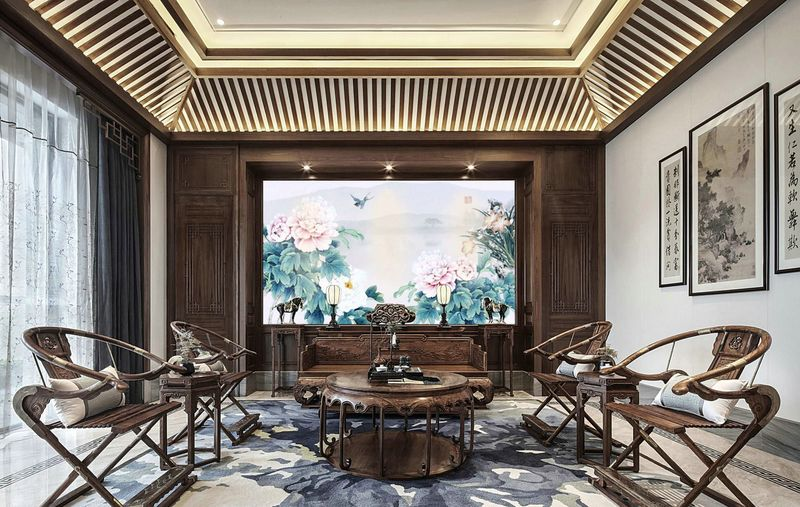 汤臣湖庭花 别墅装修 中式风格 腾龙设计 客厅图片来自孔继民在别墅装修中式风格设计案例的分享