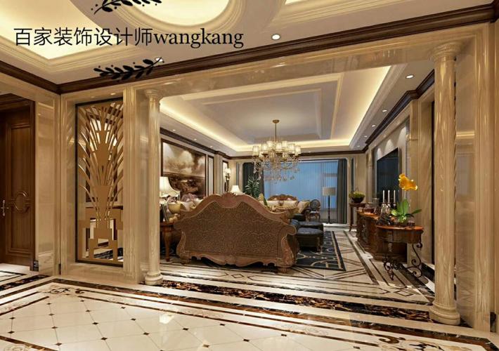 客厅图片来自沈阳百家装饰小姜在保利海上五月花142平欧式风格的分享