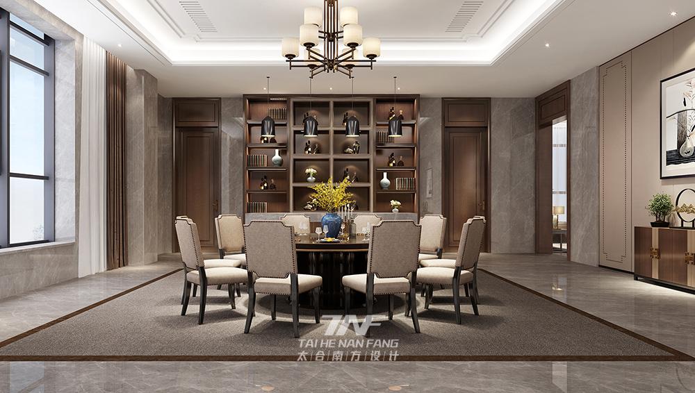 王五平设计 豪宅设计 现代中式 餐厅图片来自王五平设计在河北私人豪宅定制设计-中式雅奢的分享