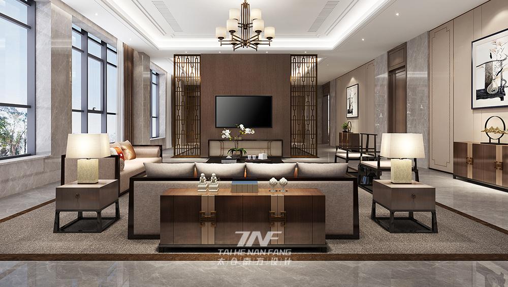 王五平设计 豪宅设计 现代中式 客厅图片来自王五平设计在河北私人豪宅定制设计-中式雅奢的分享