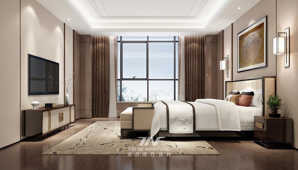 王五平设计 豪宅设计 现代中式 卧室图片来自王五平设计在河北私人豪宅定制设计-中式雅奢的分享