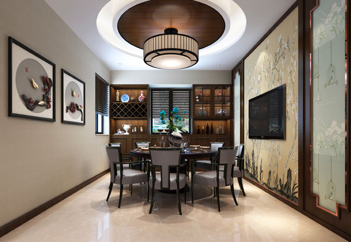 宝山别墅 新中式风格 腾龙设计 餐厅图片来自孔继民在宝山区宝山别墅350平新中式设计的分享