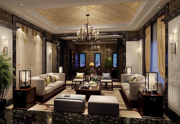 揽海高尔夫 别墅装修 新古典 腾龙设计 客厅图片来自孔继民在揽海高尔夫500平别墅新古典设计的分享