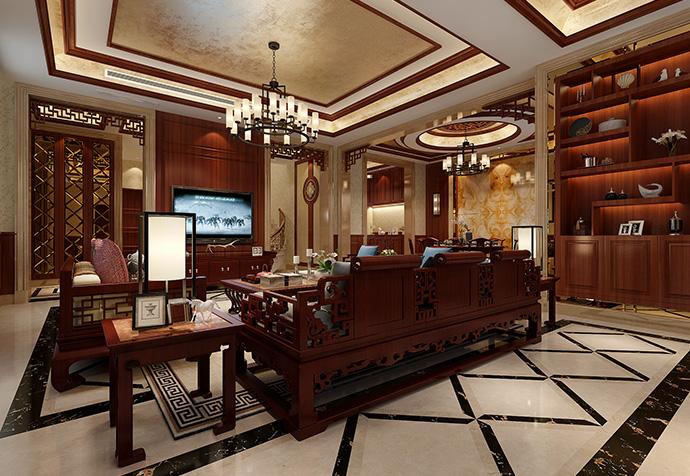 宝华源墅 别墅装修 新中式风格 腾龙设计 客厅图片来自孔继民在宝华源墅400平别墅新中式风格的分享