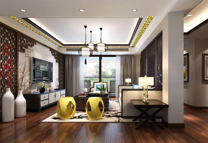 宝山别墅 新中式风格 腾龙设计 客厅图片来自孔继民在宝山区宝山别墅350平新中式设计的分享