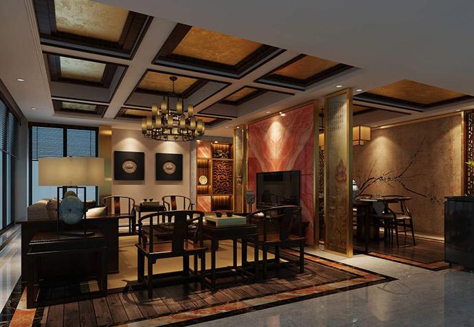 保利天琴宇 别墅装修 中式风格 腾龙设计 客厅图片来自孔继民在保利天琴宇250平别墅新中式的分享