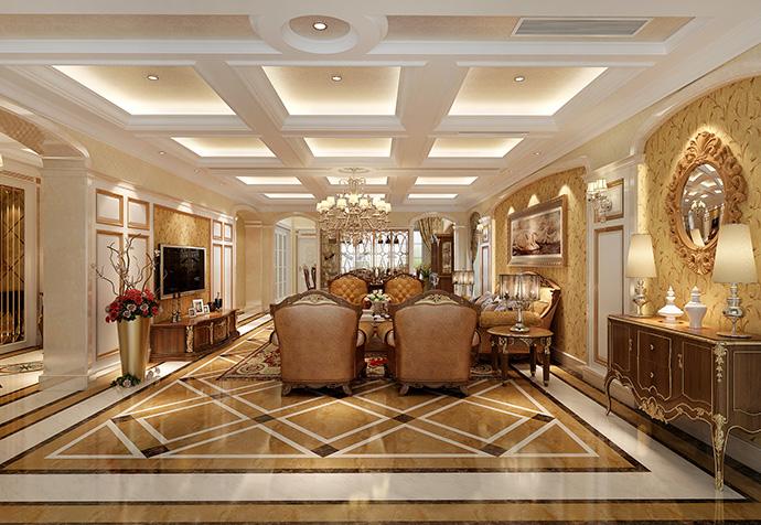 保利叶语 别墅装修 欧美风格 腾龙设计 客厅图片来自孔继民在保利叶语500平别墅美式风格设计的分享