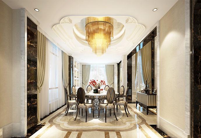 白金瀚宫 别墅装修 现代风格 腾龙设计 餐厅图片来自孔继民在白金瀚宫800平别墅现代风格设计的分享