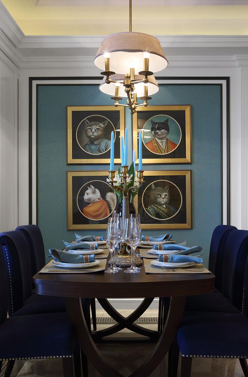 新古典 四居 大户型 跃层 复式 别墅 80后 小资 餐厅图片来自高度国际姚吉智在诗雅古典 163平米有品位的住宅的分享