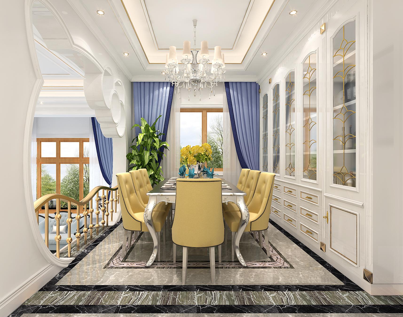 山语原墅 别墅装修 地中海风格 别墅设计 餐厅图片来自孔继民在山语原墅别墅项目装修地中海的分享