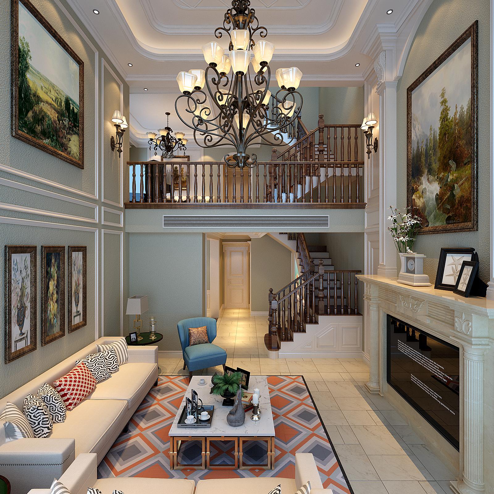 客厅图片来自好百年装饰张艳子在绿地城160㎡的分享