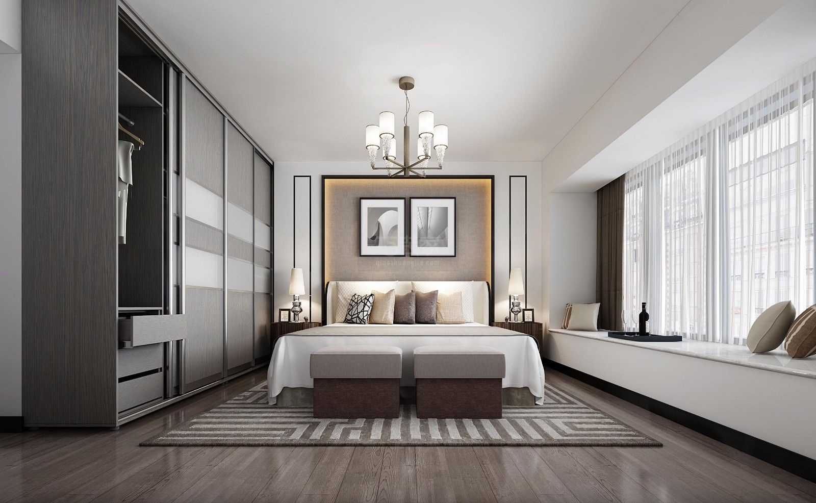 今朝装饰 西安装修 装修案例 设计师 卧室图片来自西安今朝装饰小何在白桦林明天现代简约风格装修的分享
