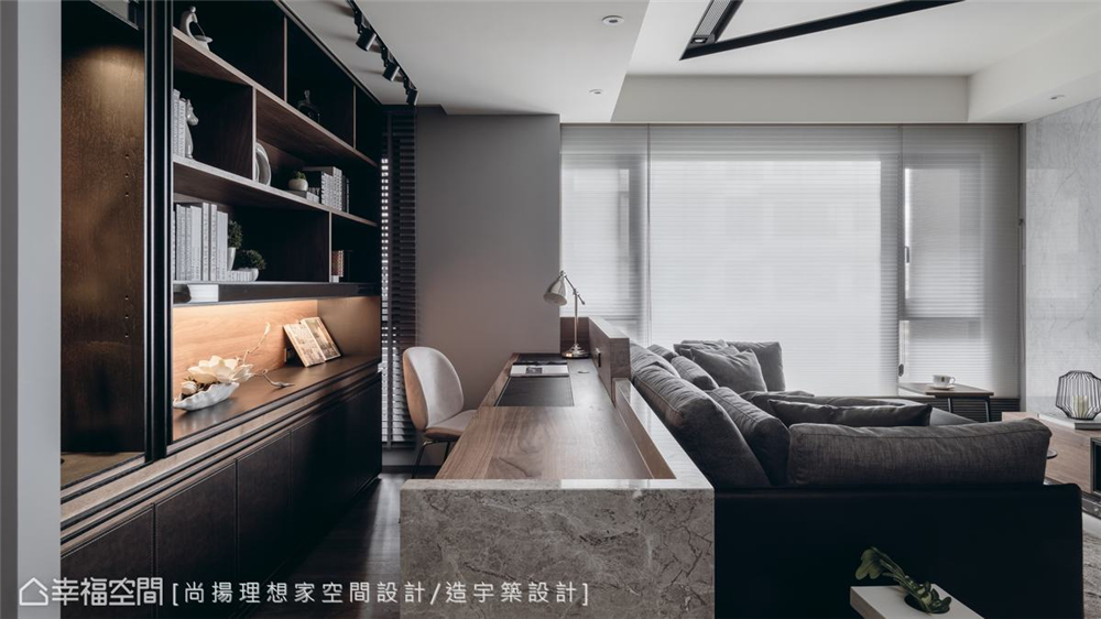 小资 现代风格 装修设计 二居 白领 书房图片来自幸福空间在79平,几何线条,建构个性化场域的分享