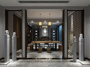 青浦古涧堂别墅项目装修新中式