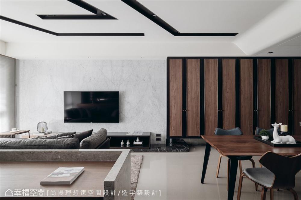 小资 现代风格 装修设计 二居 白领 客厅图片来自幸福空间在79平,几何线条,建构个性化场域的分享
