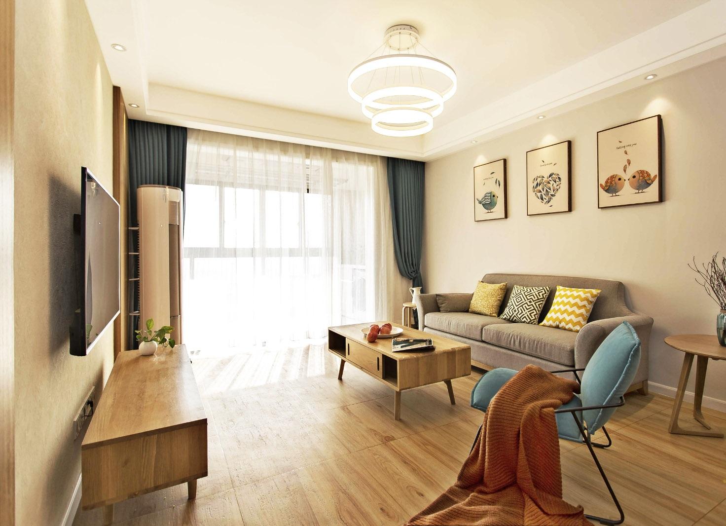 """欧式 白领 收纳 80后 小资 二居 客厅图片来自温江装修公司在89㎡北欧原木风""""惬意生活""""的分享"""