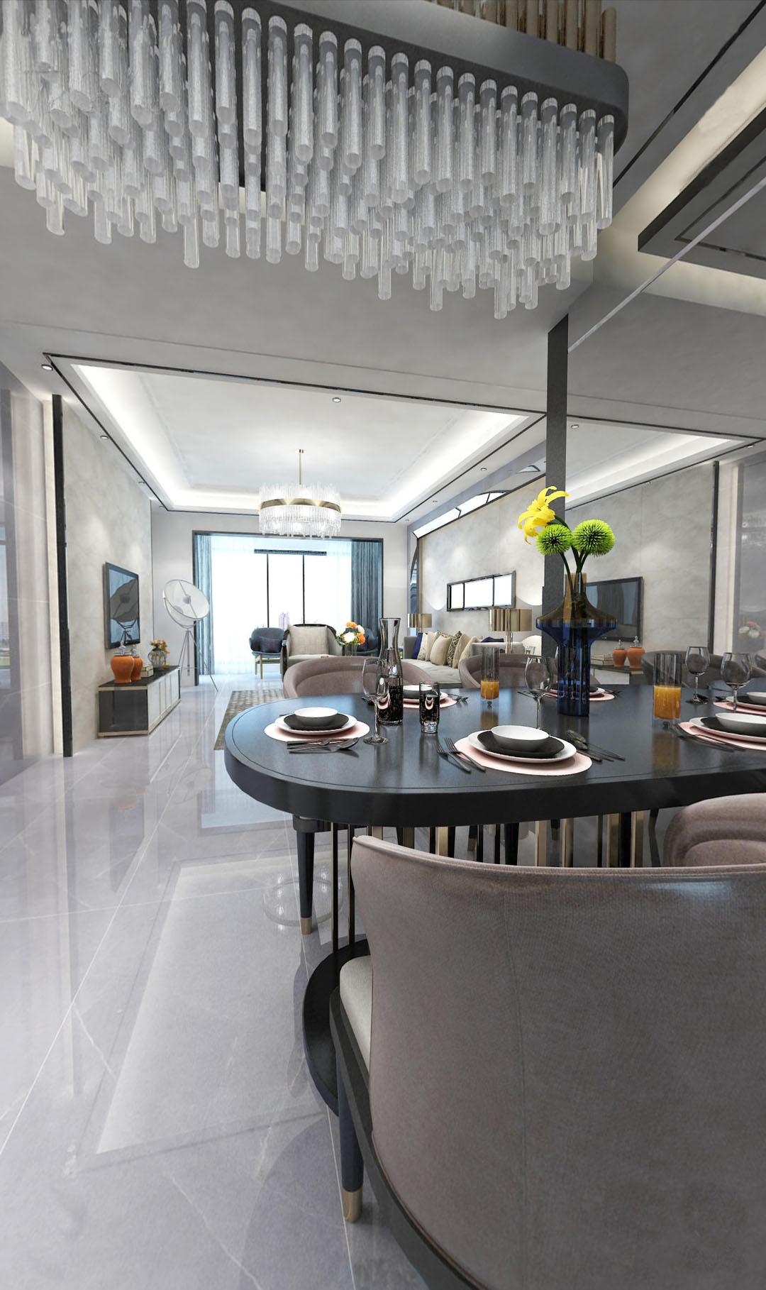 三居 现代轻奢 餐厅图片来自云南俊雅装饰工程有限公司在都铎城邦的分享