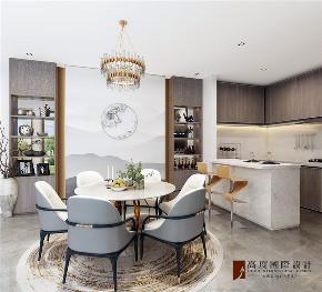 现代 中式 公寓 大户型 复式 跃层 别墅 80后 小资 餐厅图片来自高度国际姚吉智在四合院200平米现代中式天生优雅的分享