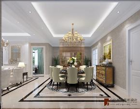 美式 别墅 跃层 复式 大户型 80后 小资 餐厅图片来自高度国际姚吉智在金地中央世家600平米简美风格的分享