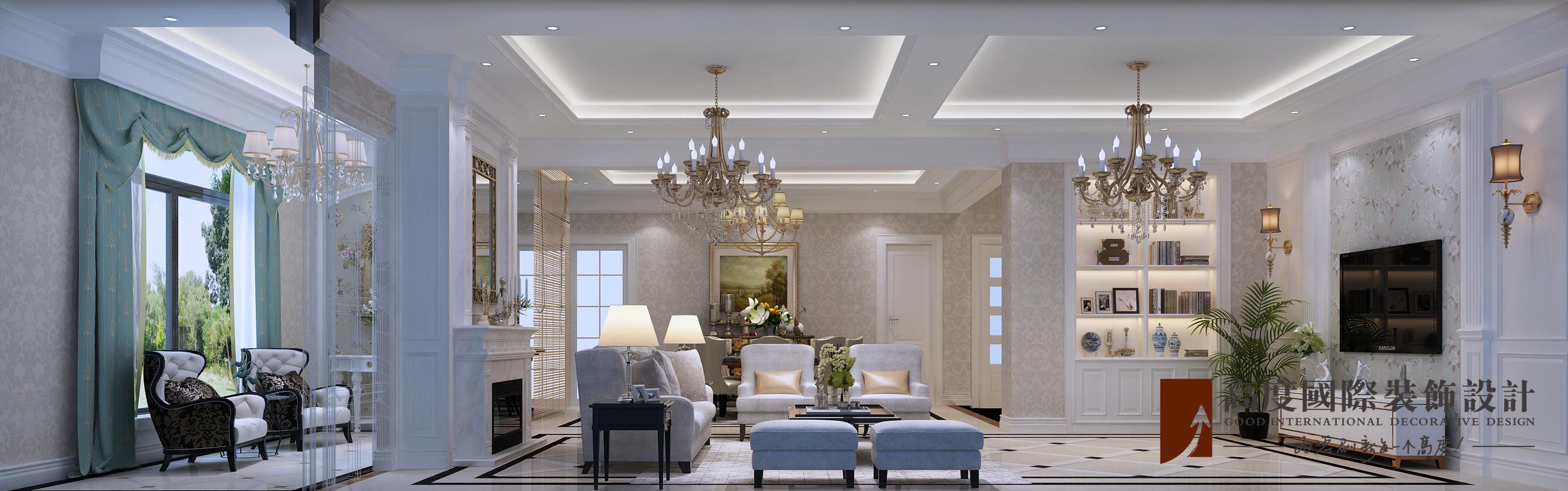 美式 别墅 跃层 复式 大户型 80后 小资 客厅图片来自高度国际姚吉智在金地中央世家600平米简美风格的分享