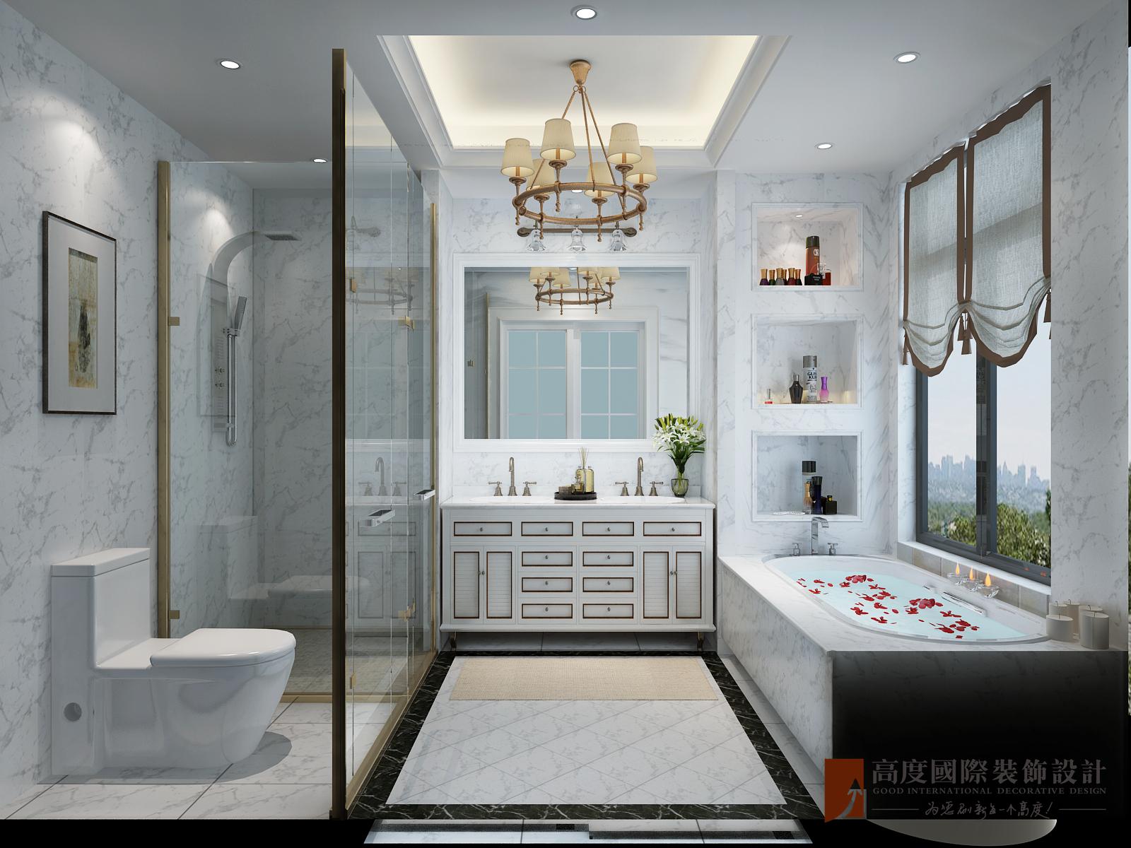 美式 别墅 跃层 复式 大户型 80后 小资 卫生间图片来自高度国际姚吉智在金地中央世家600平米简美风格的分享