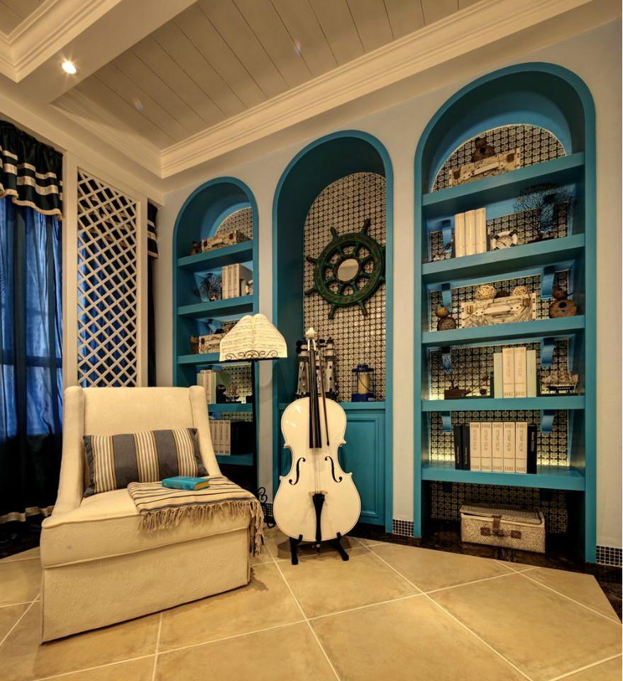 二居 地中海 旧房改造 书房图片来自北京今朝装饰在地中海的分享