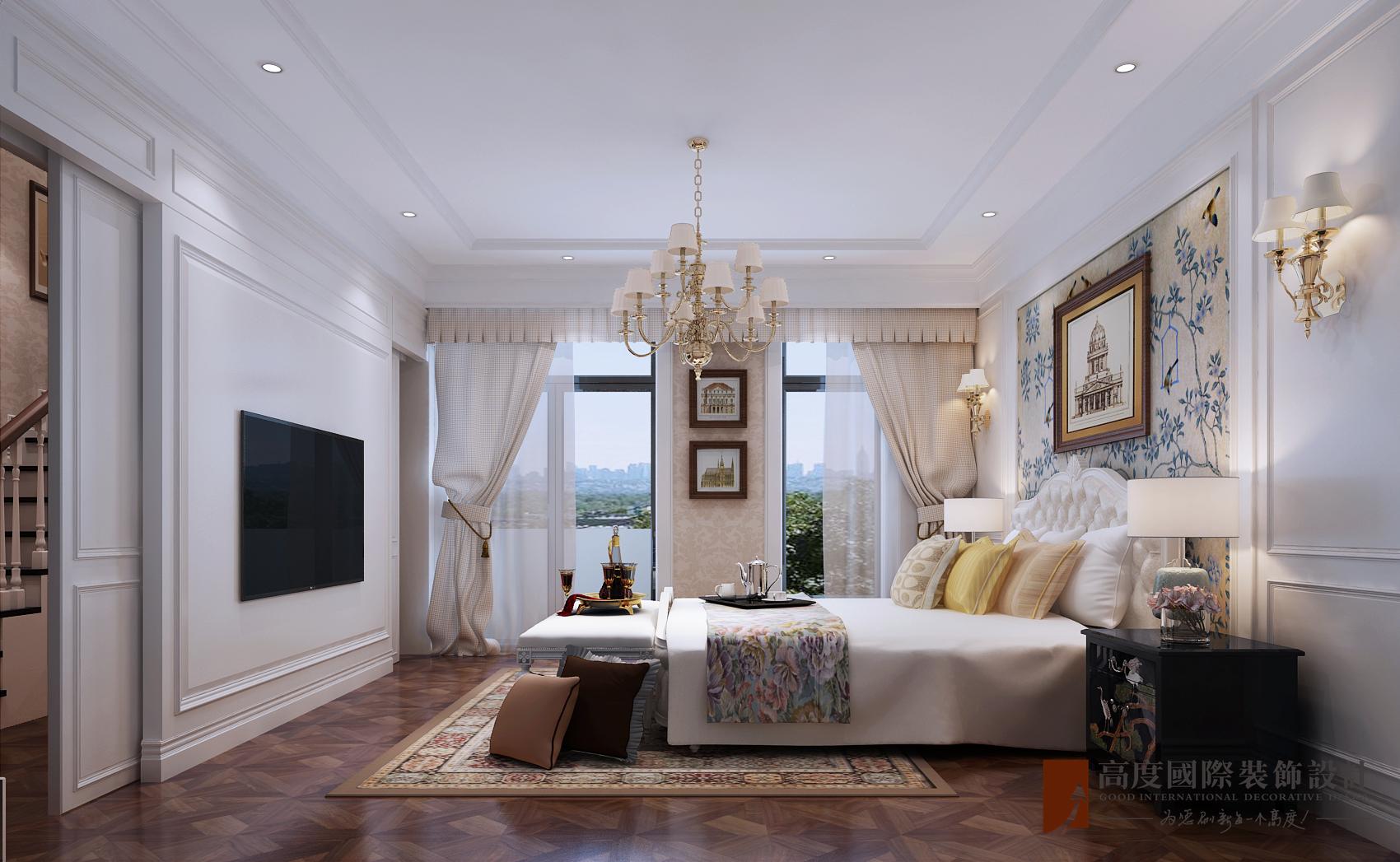美式 别墅 跃层 复式 大户型 80后 小资 卧室图片来自高度国际姚吉智在金地中央世家600平米简美风格的分享