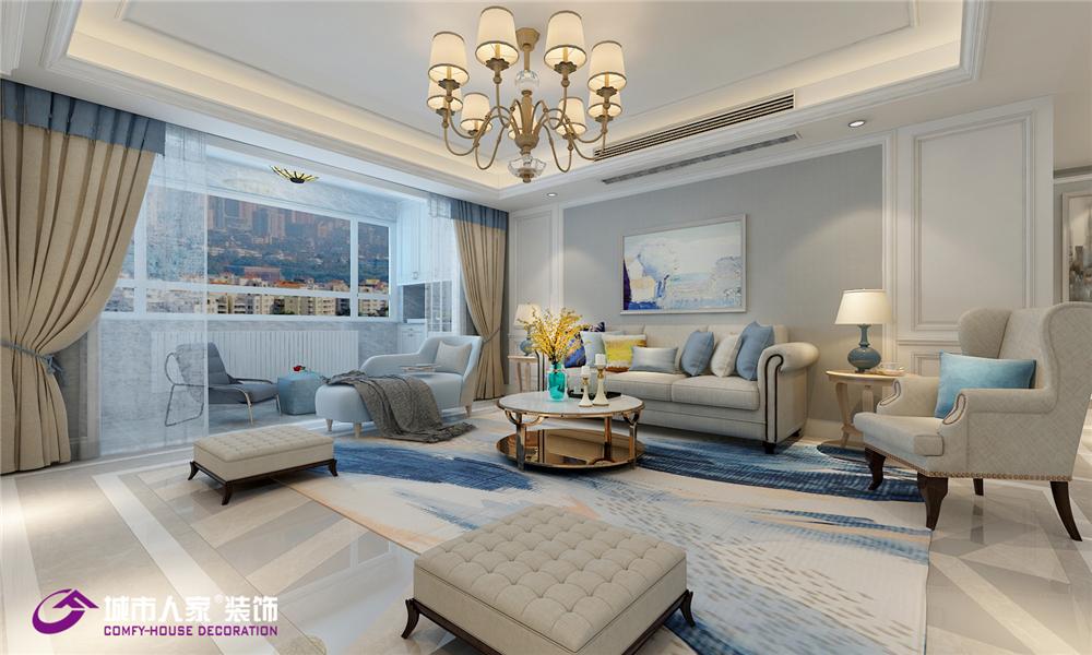 简约 美式 东城逸家 济南 装修 客厅图片来自济南城市人家装修公司-在东城逸家装修美式风格案例的分享