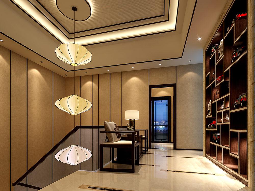 尚海郦景 别墅装修 新中式风格 腾龙设计 别墅设计师 楼梯图片来自孔继民在尚海郦景别墅装修设计案例展示的分享