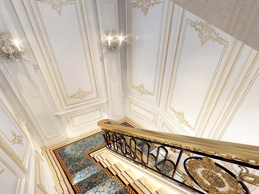 金大元 别墅装修 法式风格 腾龙设计 别墅设计师 楼梯图片来自孔继民在金大元别墅法式风格设计案例的分享