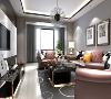 墙面和顶面的玫瑰金线条, 富有韵律的宽窄变化, 体现设计灵动的层次感。