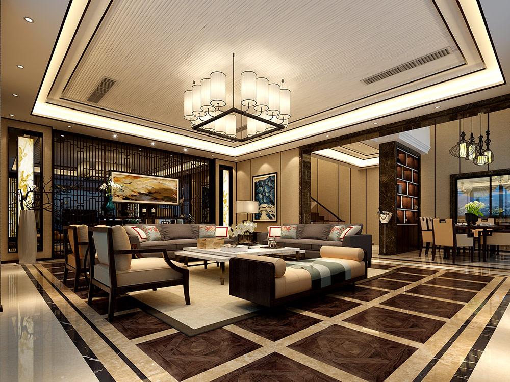 尚海郦景 别墅装修 新中式风格 腾龙设计 别墅设计师 客厅图片来自孔继民在尚海郦景别墅装修设计案例展示的分享