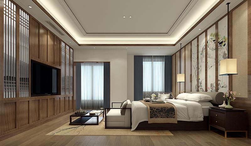 双湖湾 别墅装修 新中式风格 别墅设计师 卧室图片来自孔继民在昆山双湖湾别墅新中式设计的分享