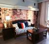 以浅色的美式风格的木制装饰构件和家具,搭配北美风格的仿古地砖作为主要表现元素。