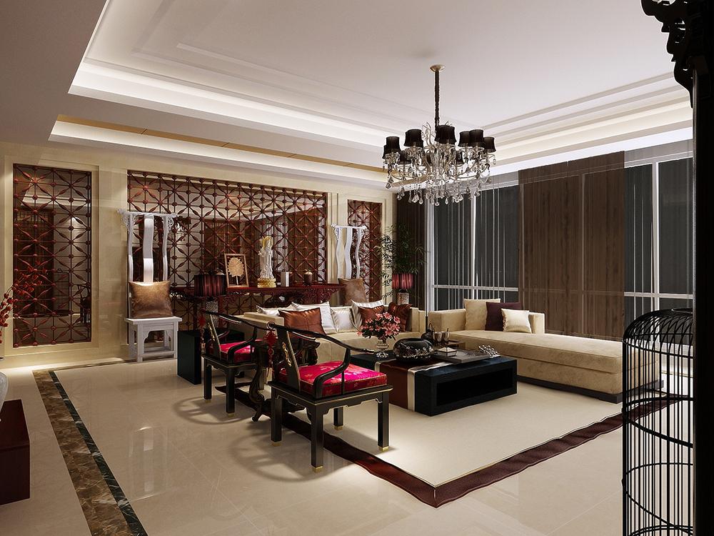 绿地香颂 别墅装修 新中式风格 别墅设计师 客厅图片来自孔继民在绿地香颂别墅新中式风格设计的分享